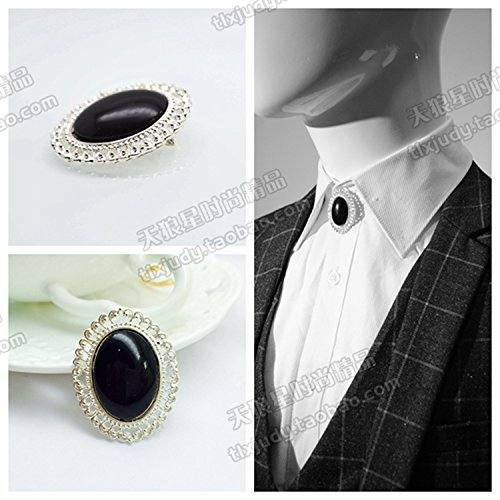 European and American personality Korean men black onyx brooch collar pin brooch Poirot British style suits the trend with accessories