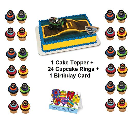 MONSTER JAM TRUCKS Cake Topper Set Cupcake 24