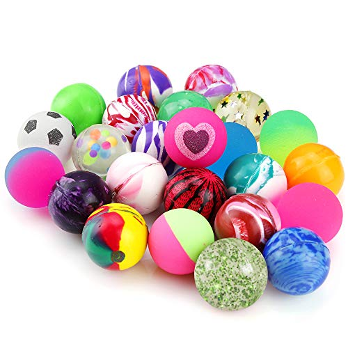 Bounce Balls Party Favors - Pllieay 24 Pieces Jet Bouncy Balls 25mm Mixed Color Party Bag Filler for Children