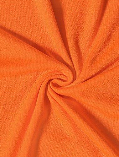 Allegra K Damen Kurzarm V Hals Querriemen Über Knie Kleid Dress Orange y6BhO0PYi