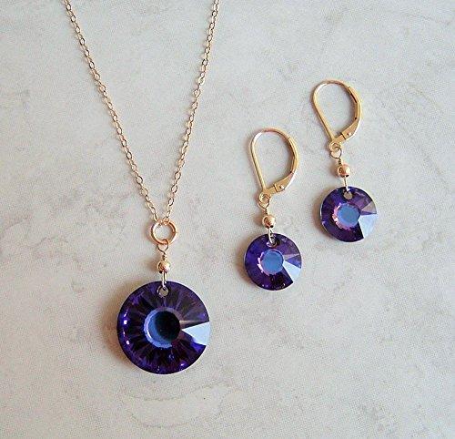 Sun Disc Earring (Purple Heliotrope Round Sun Disc Swarovski Crystal Gold Filled Earring Necklace Set Gift Idea)