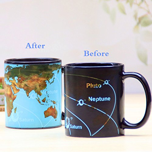 Star Solar System Discoloration 350ml Coffee Cups | Magical Changing Color Ceramic Mug | World Map Chameleon Milk for Travel