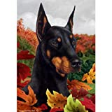 Best of Breed Fall Leaves Garden Size Flag Black and Tan Doberman Pinscher For Sale