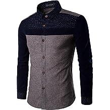 jeansian Men's Fashion Slim Corduroy Stitching Long Sleeves Dress Shirt Tops 84P5