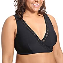 Delimira Women's Plus Size Soft Cup Comfort Wirefree Sleep Lace Bra