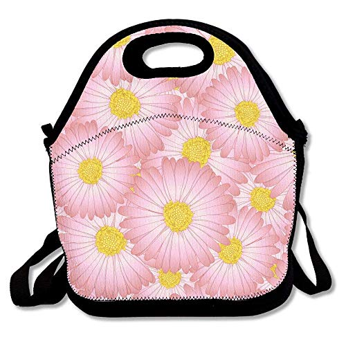 Insulated Neoprene Lunch Bag with Cutlery Kit Case For Knife,Fork,Spoon- Removable Shoulder Strap - Reusable Thermal Lunch Tote/Lunch Box/Bag For Women,Men,Kids,Adults - Pink Aster Daisy Flower ()