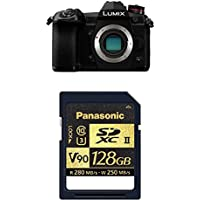 Panasonic LUMIX G9 Mirrorless Camera Body (DC-G9KBODY) with Panasonic 128gb SDZA Series SD Card (RP-SDZA128AK)