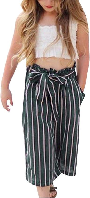 Cinnamou Traje De 2 Piezas De Bebe Camisole Tank Tops Y Pantalones Anchos De Nina Conjuntos Ropa Verano Rayas Pantalones De Vestir Amazon Es Ropa Y Accesorios