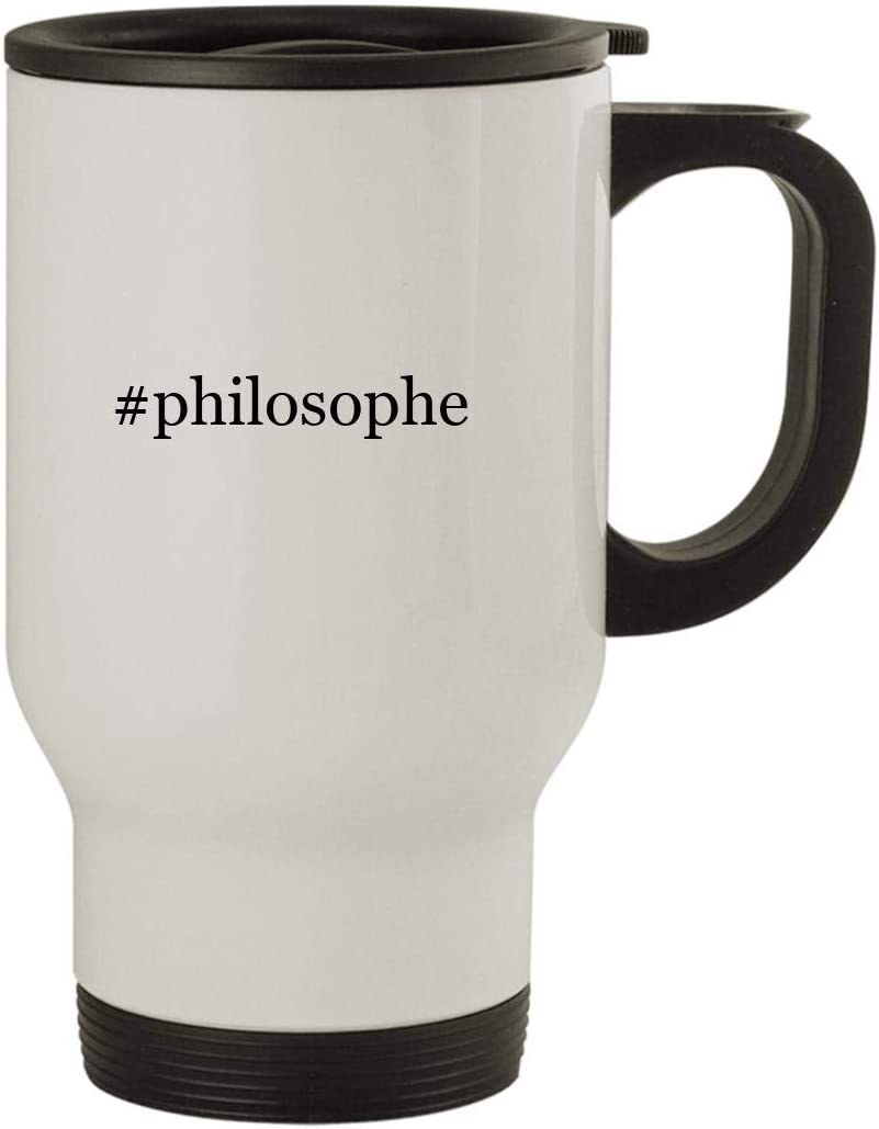 #philosophe - Stainless Steel Hashtag 14oz Travel Mug, White