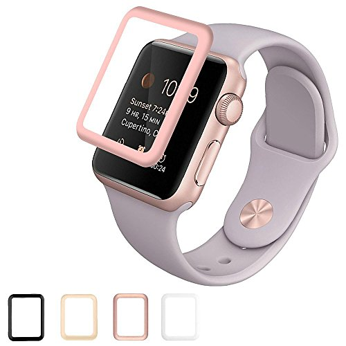 Josi Minea Apple Watch [38mm] 3D Curved Tempered Glass Screen Protector with Edge to Edge Coverage Anti-Scratch Ballistic LCD Cover Guard Premium HD Shield for Apple Watch Series 2 - 38mm [Rose Gold]