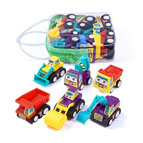 GGDHM 6パック ミニプルバック 建設車両 おもちゃの車 - ブルドーズ ショベル ダンプトラック モデルキット 子供用 幼児 子供用