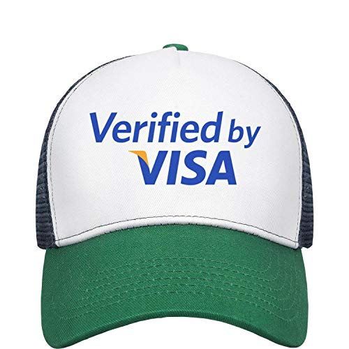 Mens and Womens Logo 3-D Secure Visa Credit Card Payment Trucker Flat Baseball HatMesh Flatbrim