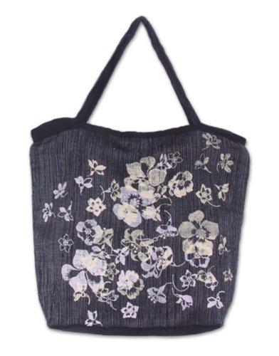 Novica Grey Cotton Handbag 'flower Breeze'