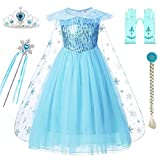 DXYTECH Snow Queen Elsa Costumes Frozen Princess Sequins Dress Up Party Outfit for Toddler Girls (100/2-3T, Blue)