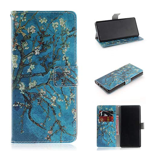 Galaxy Note 9 Case, ZERMU Shockproof Painted Pattern Premium PU Leather Kickstand Flip Folio Wallet Case with Card Holder ID Slot and Hand Strap Magnetic Closure Case for Samsung Galaxy Note 9 6.4