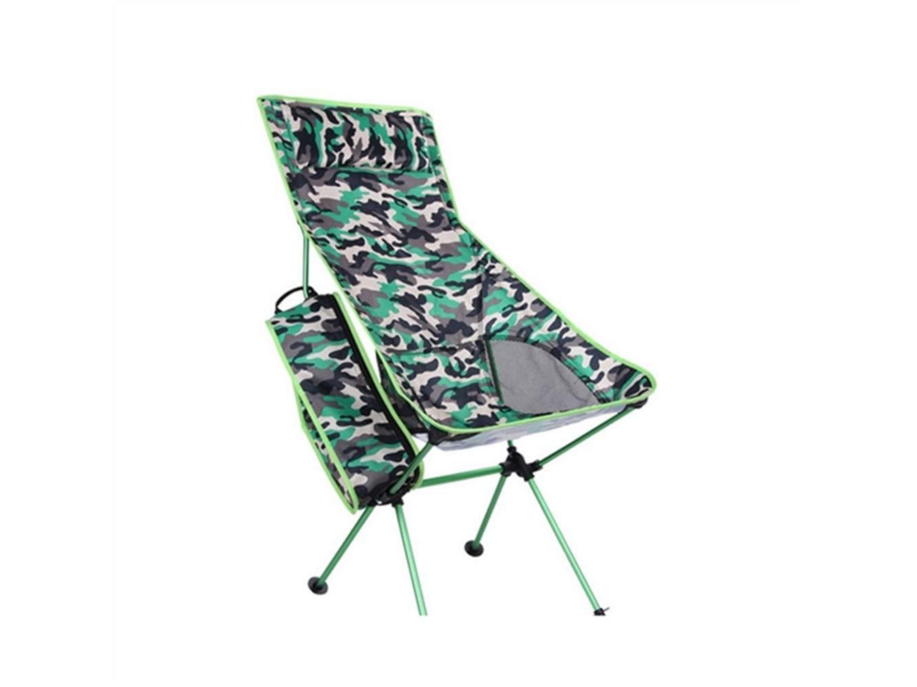 LMKIJN Bequemer Stuhl Tragbare Klapp Angeln Stuhl Liege Camping Stuhl für Outdoor und Angeln (Camouflage Grün) für den Urlaub