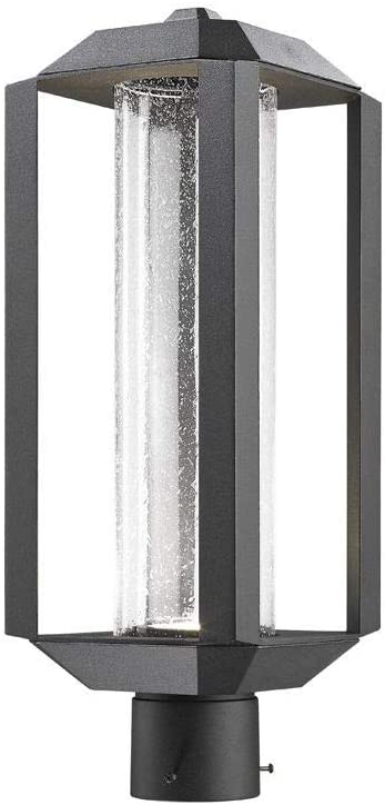 Artcraft Ac9093bk Wexford 19 75 12w 1 Led Outdoor Post Lantern Black Finish With Seeded Glass