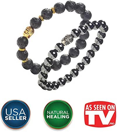 Earth Therapy, The Original Buddha Root Chakra Beads Bracelet with Hematite Healing Stones - Adjustable - for Women, Men and Yogis
