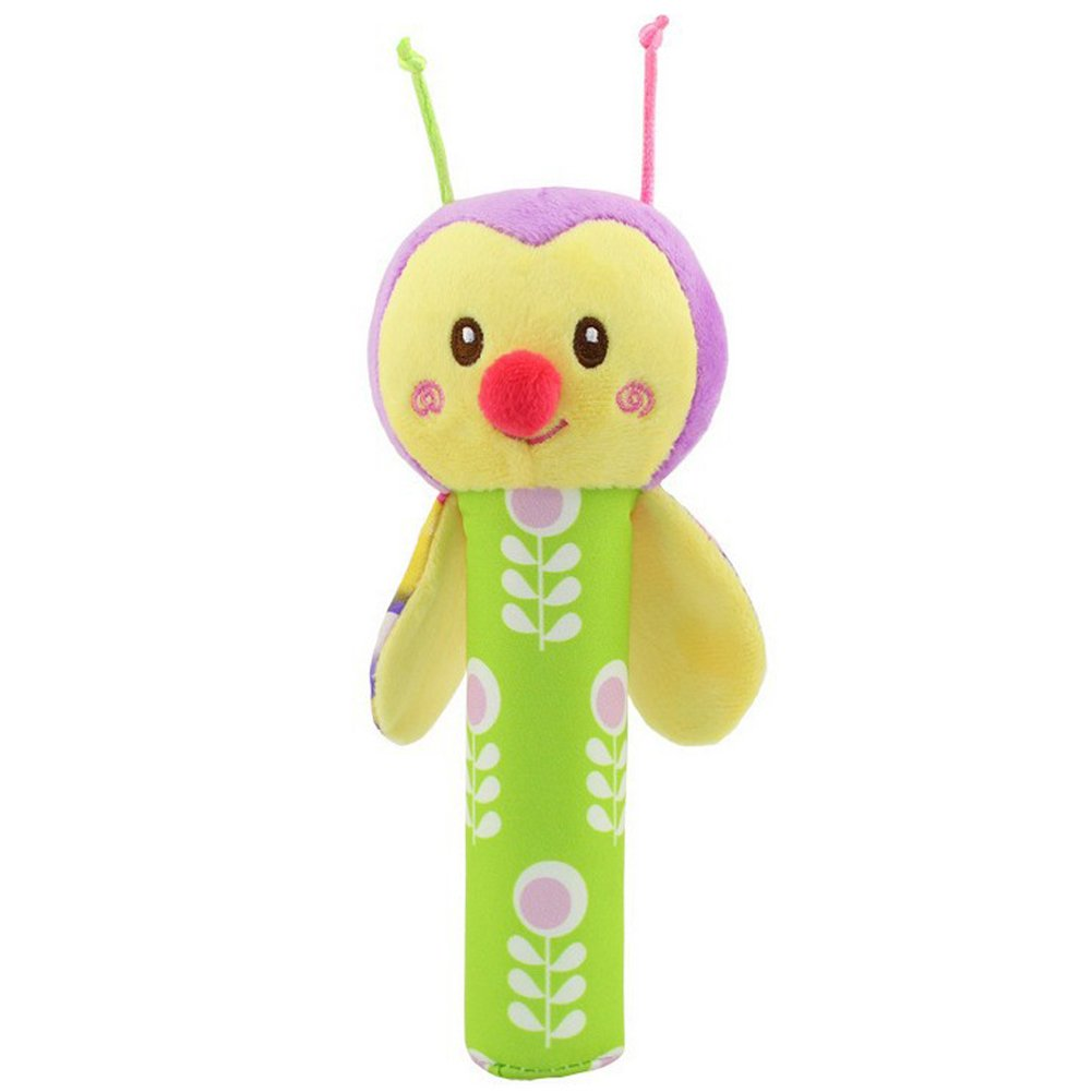 Animal Hand Rattle Soft Plush Stick Infant Dolls Musical Developmental Toy Butterfly Happy Monkey