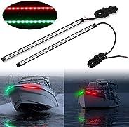 Obcursco 12 Inch LED Boat Bow Navigation Light Kits for Marine Boat Vessel Pontoon Yacht Skeeter - 1 Pair (Red