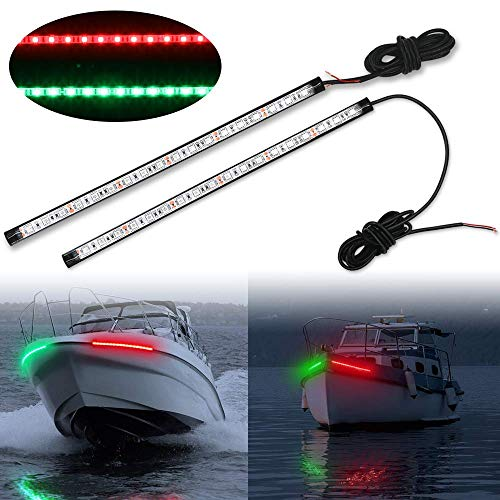 - Obcursco 12 Inch LED Boat Bow Navigation Light Kits for Marine Boat Vessel Pontoon Yacht Skeeter - 1 Pair - Red & Green.
