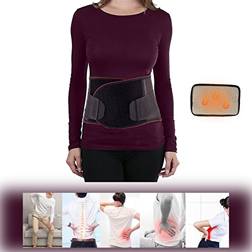 Bone Shape Magnet (ZSZBACE Stabilizing Waist Support Belt with Removable Fever Pad- Self- Heating Lower Back Brace for Back Pain Relief -Unisex Lumbar Back Support Belt- Black Posture Corrector (XXL))