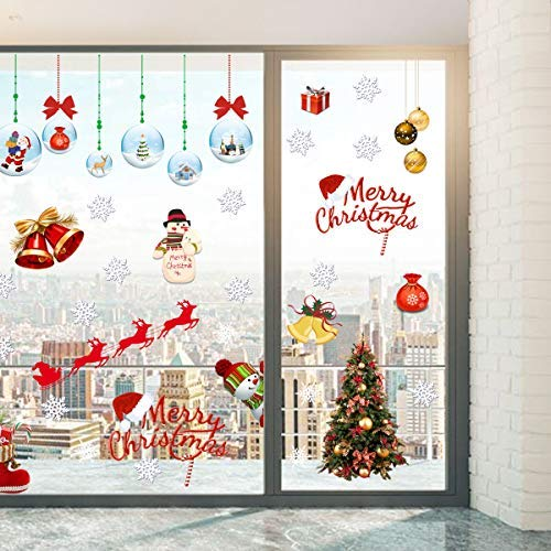 Coavas Christmas Windows Clings, Non Adhesive Static Clings decals Suitable for Winter Wonderland Party Decorates Stickers, Christmas Tree, Santa Claus, Snowman & Many More 107 PCS, 17.32 x 32.67 Inch