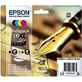 Encre d'origine EPSON Multipack Stylo Plume T1636 : cartouches Noir XL, Cyan XL, Magenta XL et Jaune XL