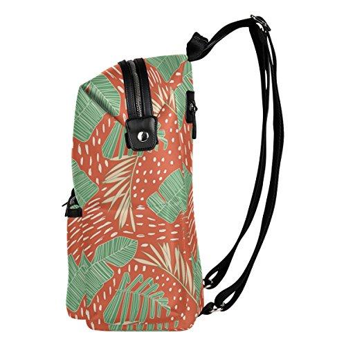 tropischen Dschungel Blätter Exotic Print Leicht Wasserdicht Polyester groß Kapazität Rucksack Campus Rucksack Reise Daypack