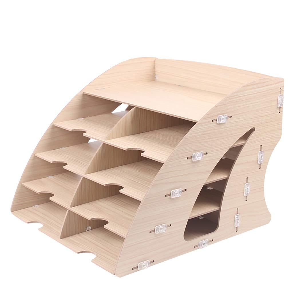ファイル棚ファイルバーデスクトップ収納ボックス木製5層マルチカラーオプション (色 : E) B07MQHSJJM E