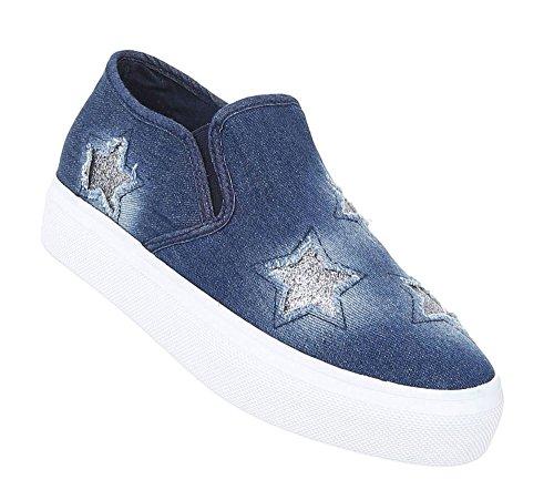 Damen Sneakers Jeans | Stoffschuhe Used | Sneaker High Top | Stretch Schuhe Freizeit | Damenschuhe Turnschuhe | Stiefelette weiße Sohle | Plateau Jeans Sneaker | Schuhcity24 Blau
