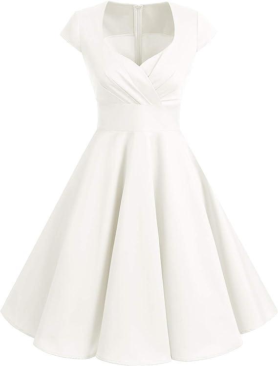 TALLA L. Bbonlinedress Vestido Corto Mujer Retro Años 50 Vintage Escote White L