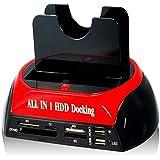 """Docking Station 875J All-In-One dual SATA / IDE HDD con un pulsante di backup per 2.5 """"/3.5"""" SATA / IDE HDD (nero + rosso)"""