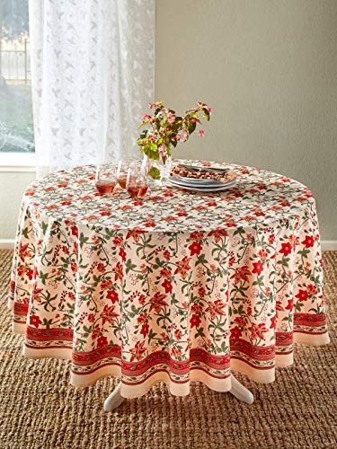 Saffron Marigold 90 Round Tropical Garden Decorative Table Cloth | Red Hibiscus Floral | Country Western Vintage Flower Print -