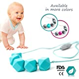 Image of Teething Necklace, Chewable Jewelry, Baby Toys, AUTISM ADHD Fidget Toy, Silicone Beads, Safe, BPA free + Gift Box (Blue/Turquoise)