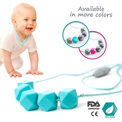 Teething Necklace, Chewable Jewelry, Baby Toys, AUTISM ADHD Fidget Toy, Silicone Beads, Safe, BPA free + Gift Box (Blue/Turquoise) Image