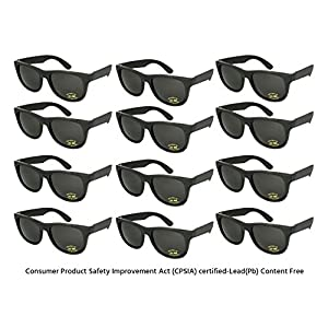 Edge I-Wear 12 Pack Neon Party Sunglasses with CPSIA Certified Lead (Pb) Content Free and UV 400 Lens 5402R/BLK-12 (Made in Taiwan)
