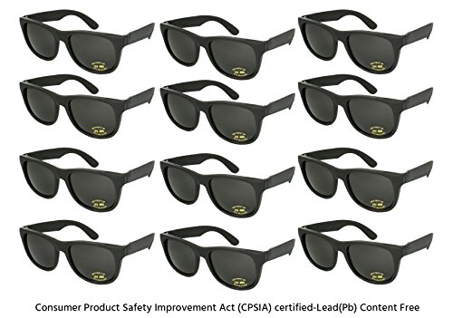 Edge I-Wear 12 Pack Neon Party Sunglasses with CPSIA Certified Lead (Pb) Content Free and UV 400 Lens 5402R/BLK-12 (Made in - In Sunglasses Black Men