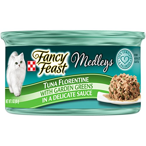 Purina Fancy Feast Wet Cat Food; Medleys Tuna Florentine With Garden Greens in a Delicate Sauce - 3 oz. Can (Pack of 24)
