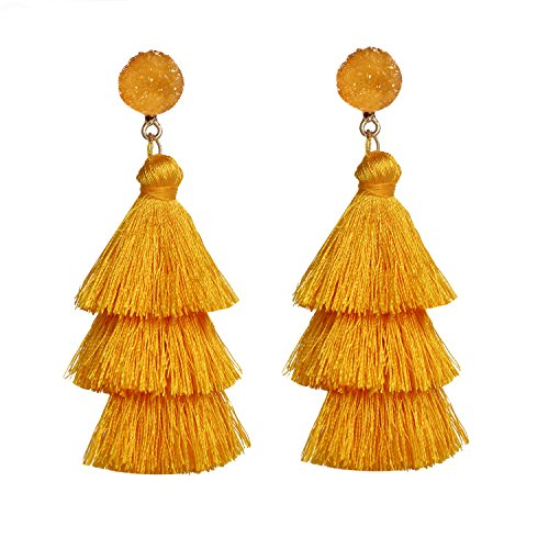 - Yellow Multi layered Tassel Earrings Bohemian Dangle Drop Tiered Tassel Resin Stud Natural Stone Earrings Gifts for Women and Girls