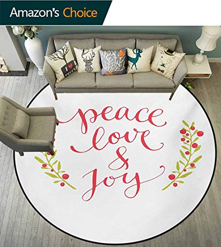 RUGSMAT Quote Modern Machine Washable Round Bath Mat,Peace Love and Joy Calligraphic Xmas Text with Winter Berries Wreath Non-Slip Soft Floor Mat Home Decor,Round-35 Inch Dark Coral Yellow Green