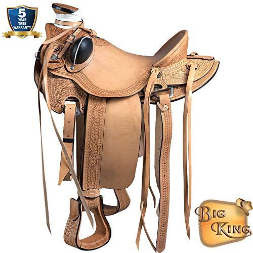 15'' HILASON BIG KING WESTERN WADE RANCH ROPING COWBOY HORSE SADDLE TAN