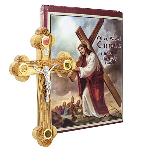 Galileecraft Wall Cross of Olive Wood with Crucifix Catholic from Jerusalem by Holy Land