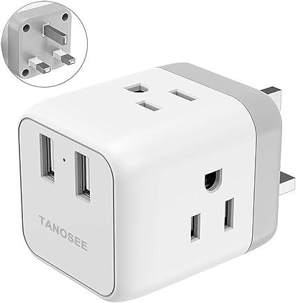 POWER Travel Adapter Plug for UK ENGLAND IRELAND SCOTLAND Type G 2-Port /& SURGE