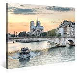 Large Canvas Print Wall Art - NOTRE-DAME DE PARIS TOURISTS - 40x30 Inch Cityscape Canvas Picture Stretched On A Wooden Frame - Giclee Canvas Printing - Hanging Wall Deco Picture / e4224