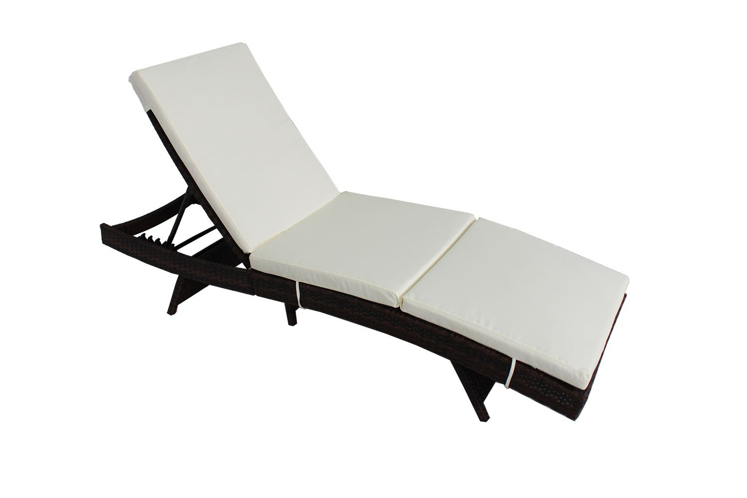 Outime Outdoor Patio Black Rattan Wicker Adjustable Cushioned Chaise Lounge Chair(Beige Cushion)