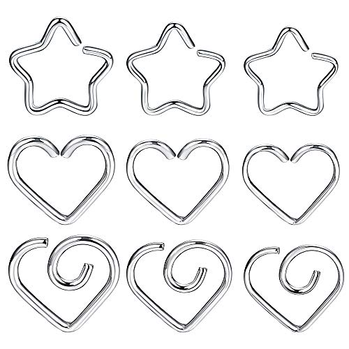(LOYALLOOK 9Pcs Stainless Steel Nose Hoop Ring Cartilage Earring for Women Teen Girls Body Piercing Ring Heart Star Shaped Silver Tone)