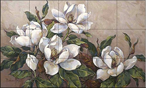 Ceramic Tile Mural - Magnolia Inspiration - by Barbara Mock - Kitchen backsplash/Bathroom Shower
