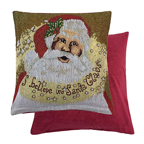 FATHER CHRISTMAS SPARKLY SANTA WOVEN CHENILLE RED GOLD THROW PILLOW SCATTER SHAM CUSHION COVER -