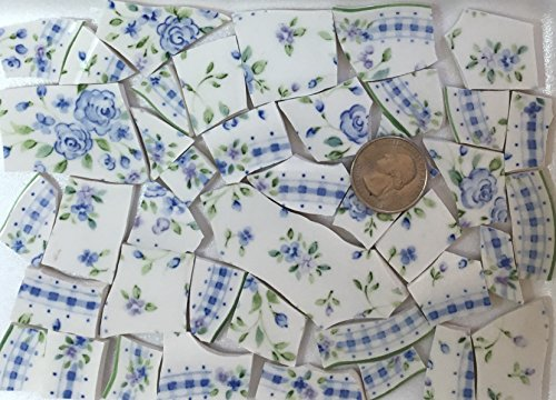 MOSAIC TILE ~ HAND CUT Dish China / Ceramic Pieces ~ Supply for Mosaics Arts & Crafts ~ Blue & White Roses with Leaves & Lace China Tiles (Rose Broken China Mosaic)
